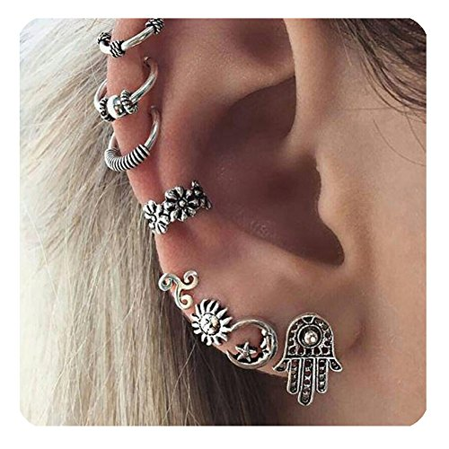 Zealmer Vintage Cuff Earrings Sun Moon Star Fatima Stud Earrings Set Piercing Non Piercing Body Jewelry Ear Cuff Set ()