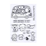 #10: Peyan Happy Birthday to You Elephant Giraffe Clear Stamp for DIY Scrapbooking Decor Card Making Crafts Supplies Rubber Silicone for Transparent Rubber Seals Photo Album Wish Decoration