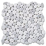 Carrara Mix Bardiglio Grey Marble River Rocks Pebble Stone Mosaic Tile Tumbled