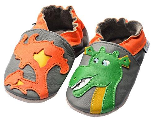 Jinwood designed by amsomo 12 Verschiedene Modelle - Hausschuhe - Echt Leder - Lederpuschen - Krabbelschuhe - Mädchen - Jungen - Soft Sole/Mini Shoes DIV. Groeßen 17/19-35/36 dragon grey mini shoes