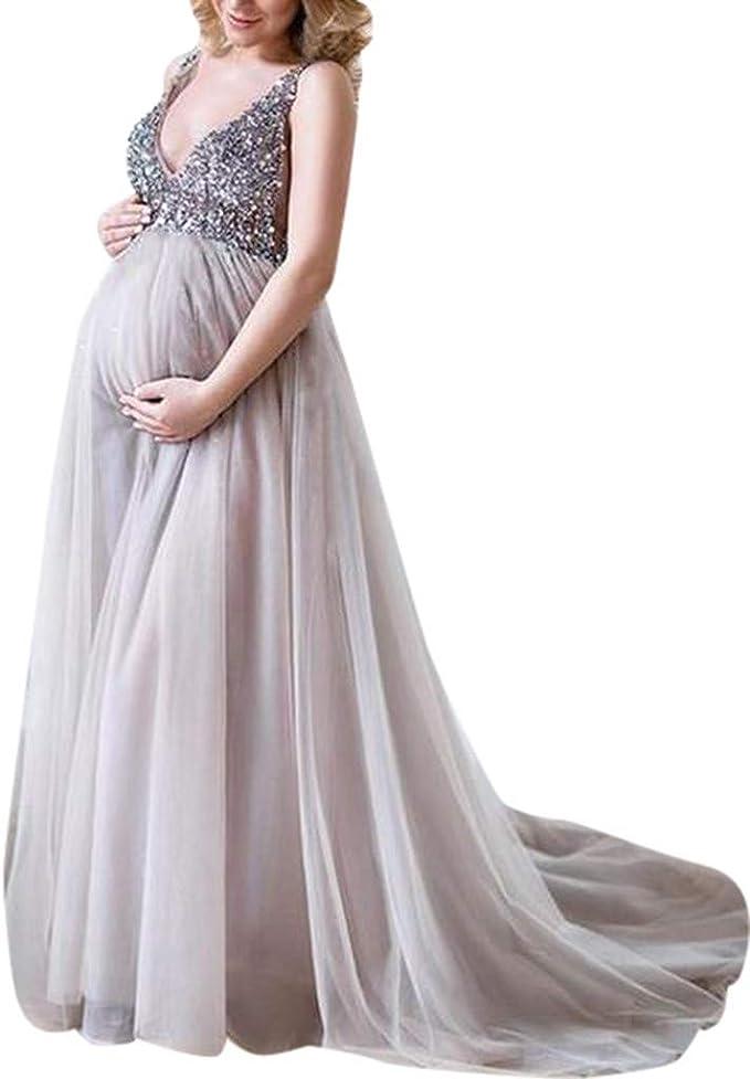Juliyues Umstandskleid Festlich Hochzeit Damen Schwangere Sling  V-Ausschnitt Pailletten Cocktail Lange Maxi Abendkleid Umstandskleid  Maternity Kleid