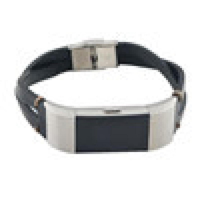 kanzd交換レザーリストバンドバンドストラップブレスレットfor Fitbit Charge 2 B078RGW79J  ブラック