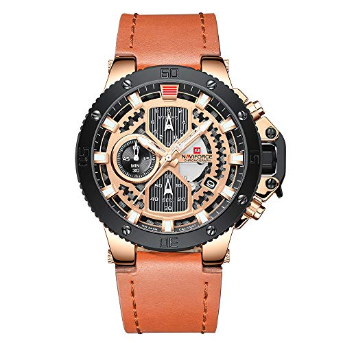 NAVIFORCE Men s Sport Watches Luxury Military Leather Strap Waterproof Quartz Watch with Date