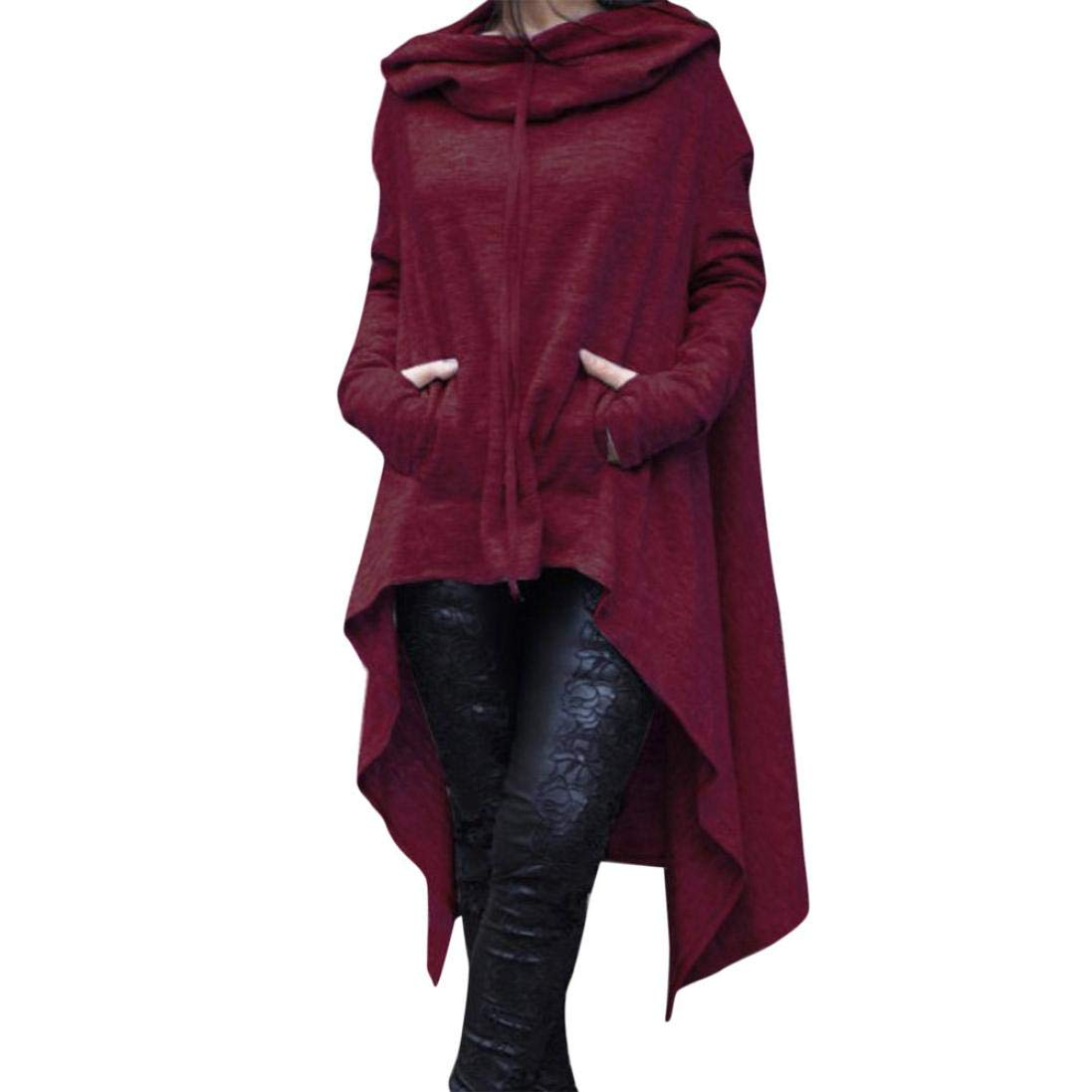 Rambling New Women's Pullover Irregular Hem Long Drawstring Loose Hoodie Top Dress