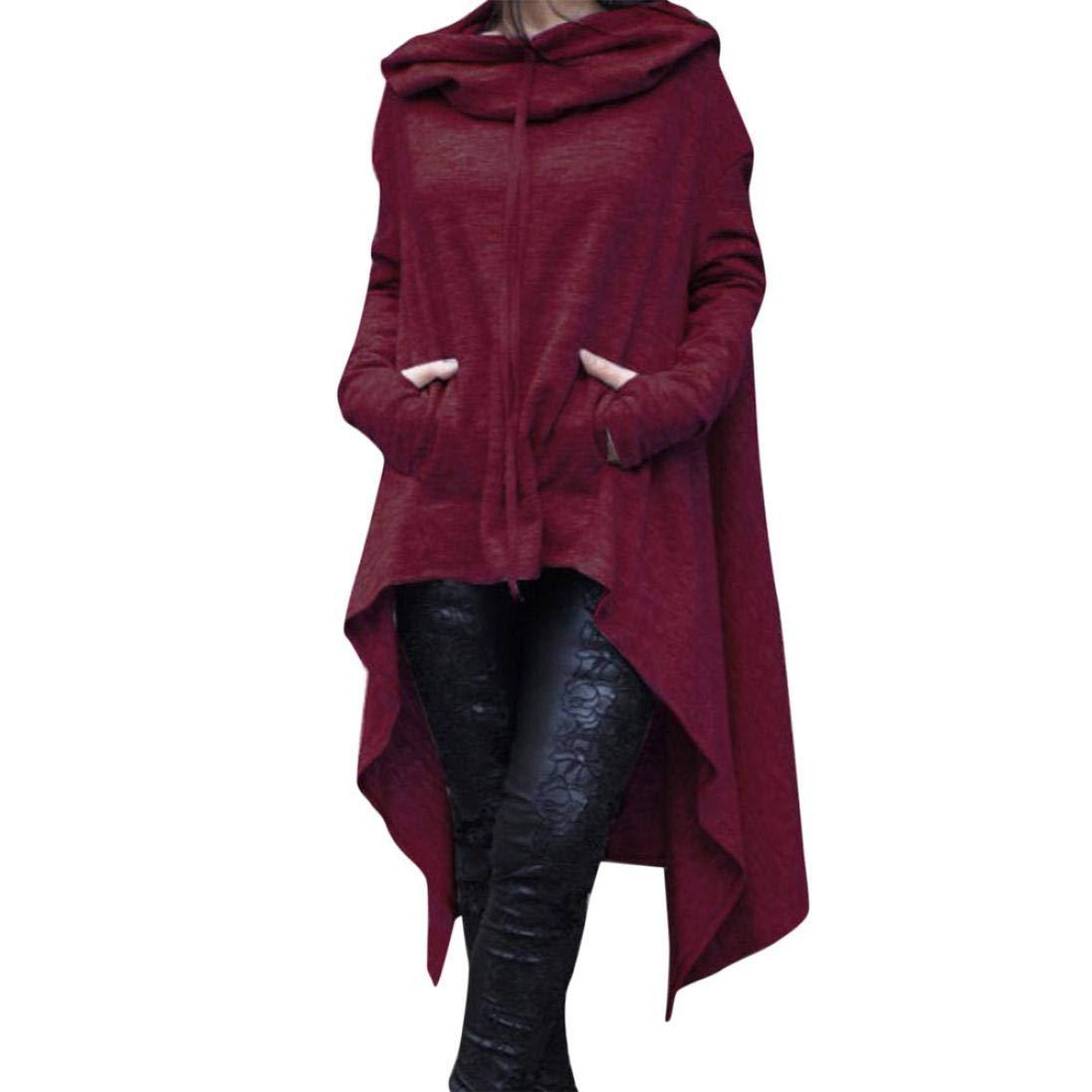 Rambling New Women's Pullover Irregular Hem Long Drawstring Loose Hoodie Top Dress
