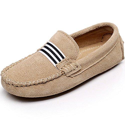 Shenn Boys Girls Fashion Strap Slip-On Beige Suede Leather Loafer Flats 799 US1 Suede Boys Slip On