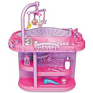 Toddler Girls Pretend Play Baby Doll Toy Crib Nursery Changing Table Station Feeding Set w/ Bottles & more! **SHIPS IN 24 HRS**