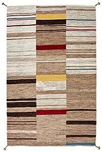 Stone & Beam Modern Gabbeh Inspired Wool Rug, 4' x 6', Sand Multi