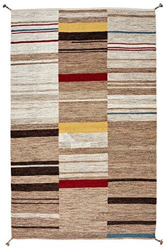 Stone & Beam Modern Gabbeh Inspired Wool Rug, 4' x 6', Sand (Sand Multi Area Rug)