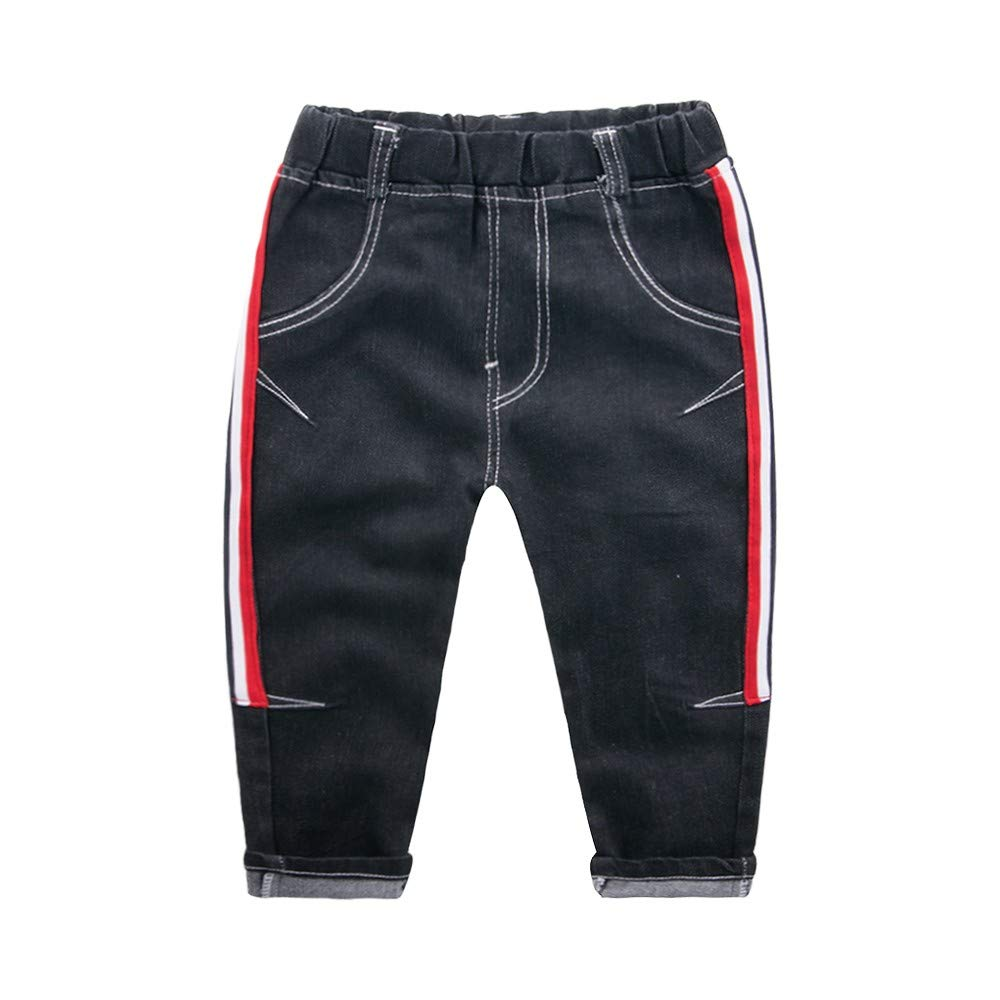 AMSKY Clearance Sale Children Baby Kids Boys Girl Side Stripe Printed Casual Long Pants Jeans Trousers