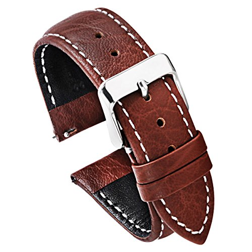 Citizen Mens Strap - PBCODE Watch Strap 22mm Leather Watch Strap Quick Release for Watches and Smartwatches – Brown White Stitching Soft