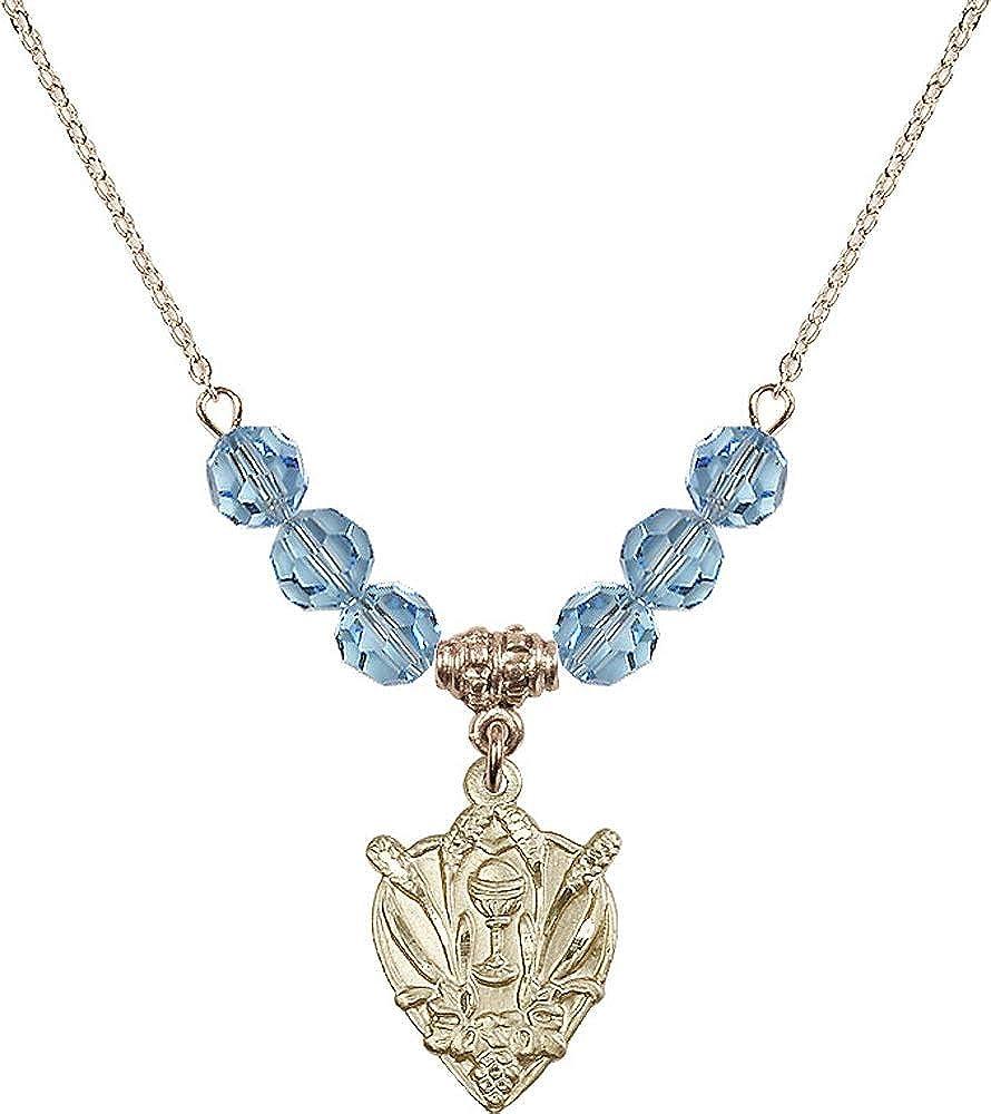 Aqua March Birthstone 18-Inch Hamilton Gold Plated Necklace with 6mm Aqua Birthstone Beads and Communion Charm
