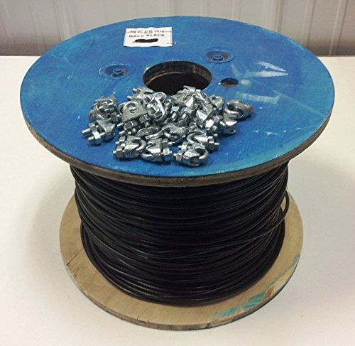 """Wholesale Black Vinyl Coated Steel Aircraft Cable 1/8"""" VC 3/16"""" 7x19 Wire Rope Clothes line (500ft w/ 8pk Cable Clamps) for cheap"""