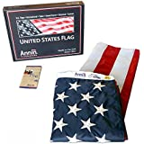 American Flag 4x6 ft. Nylon SolarGuard Nyl-Glo by Annin Flagmakers, 100% Made in USA with Sewn Stripes, Embroidered Stars and Brass Grommets.  Model 2220