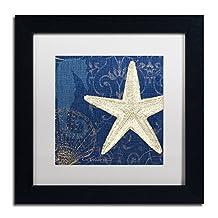 Trademark Fine Art Coastal Moonlight I Teal Artwork by Pela Studio, 11 by 11-Inch, White Matte with Black Frame