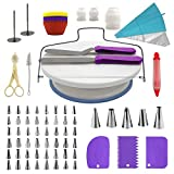 #8: Cake Decorating Supplies Kit, 107 pieces - Cake Stand, Disposable and Reusable Piping Bags, Stainless Steel Piping Tips, Silicone Cupcake Molds, Cake Scrapers, Spatulas and many more baking supplies