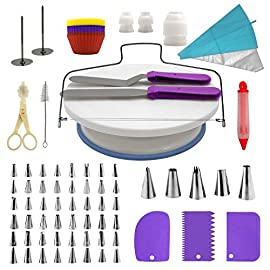 Cake Decorating Supplies Kit, 107 pieces - Cake Stand, Disposable and Reusable Piping Bags, Stainless Steel Piping Tips, Silicone Cupcake Molds, Cake Scrapers, Spatulas and many more baking supplies 86 THE COMPLETE ALL-IN-ONE KIT - The most complete cake decorating set, designed to fulfill all of your baking needs. Perfect for beginners and aspiring CAKE BOSSES!! DECORATING SET INCLUDES: - 48x Small Stainless Steel Piping Tips | 25x Disposable Pastry Piping Bags | 12x Silicone Cupcake Molds (Oven safe, heat resistant up to 450° F) | 5x Large Piping Tips | 3x Cake Side Scrapers | 2x Small Piping Bag Couplers | 2x Icing Spatulas | 2x Flower Nails | 2x Silicone Piping Bags (12in & 16in) | 1x Rotating Cake Stand with a non-slip base | 1x Cake Leveler | 1x Flower Lifter Scissors | 1x Decorating Pen | 1x Large Piping Bag Coupler and 1x Cleaning Bru PREMIUM QUALITY YOU CAN TRUST  - We know safeguarding your family's health is your #1 priority. This is why we strive to use only high quality, non-toxic materials. All 53 piping tips are made of premium non-corroding stainless steel that is dishwasher safe and both our piping bags and cupcake molds are made out of BPA Free and Food Grade Silicone meeting U.S. FDA and European LFGB food safety standards.