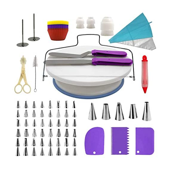 Cake Decorating Supplies Kit, 107 pieces - Cake Stand, Disposable and Reusable Piping Bags, Stainless Steel Piping Tips, Silicone Cupcake Molds, Cake Scrapers, Spatulas and many more baking supplies 1 THE COMPLETE ALL-IN-ONE KIT - The most complete cake decorating set, designed to fulfill all of your baking needs. Perfect for beginners and aspiring CAKE BOSSES!! DECORATING SET INCLUDES: - 48x Small Stainless Steel Piping Tips | 25x Disposable Pastry Piping Bags | 12x Silicone Cupcake Molds (Oven safe, heat resistant up to 450° F) | 5x Large Piping Tips | 3x Cake Side Scrapers | 2x Small Piping Bag Couplers | 2x Icing Spatulas | 2x Flower Nails | 2x Silicone Piping Bags (12in & 16in) | 1x Rotating Cake Stand with a non-slip base | 1x Cake Leveler | 1x Flower Lifter Scissors | 1x Decorating Pen | 1x Large Piping Bag Coupler and 1x Cleaning Bru PREMIUM QUALITY YOU CAN TRUST  - We know safeguarding your family's health is your #1 priority. This is why we strive to use only high quality, non-toxic materials. All 53 piping tips are made of premium non-corroding stainless steel that is dishwasher safe and both our piping bags and cupcake molds are made out of BPA Free and Food Grade Silicone meeting U.S. FDA and European LFGB food safety standards.