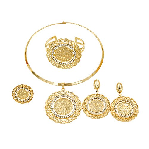 liffly Dubai Gold Jewelry Set Gold Coin Fashion Necklace Earrings Ring Bracelet