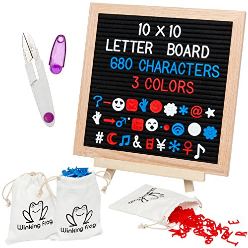 Felt Letter Board 10x10 with 680+ Changeable Letters in 3 Colors, 3 Storage Bags, and Wooden Easel. Includes Numbers, Symbols, & Emojis. from Winking Frog