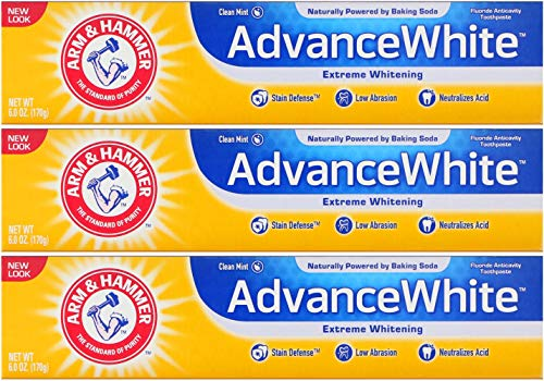 (Arm & Hammer Advance White Extreme Whitening Toothpaste, Clean Mint, 6 Ounce (Pack of 3))