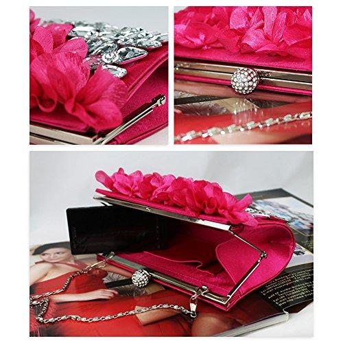 Jin Cocktail Stud Evening Ya Flowers Black Bags Clutch Diamond Silk TxqwURnadR