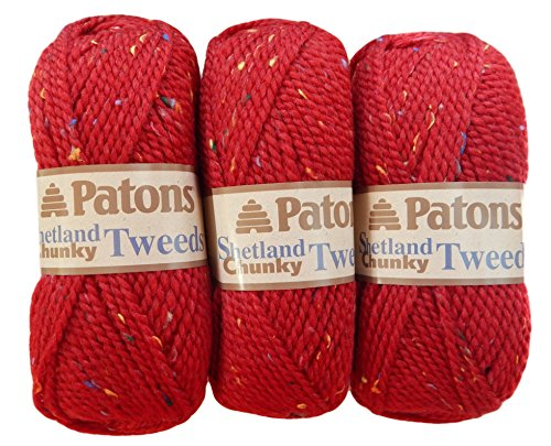 Patons Shetland Chunky Tweed Yarn ( 3 Pack) Bulky Acrylic Wool Blend ( Deep Red)