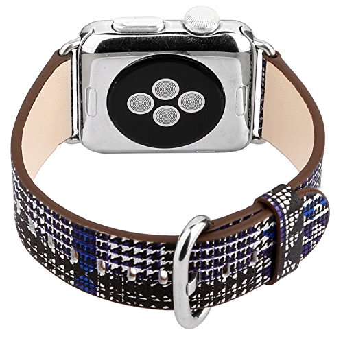 - Houndstooth Pattern Leather Band Strap Stylish Wristband Bracelet Compatible with 40mm Apple Watch Series 4, 38mm Apple Watch Series 3/2/1 (Purple)