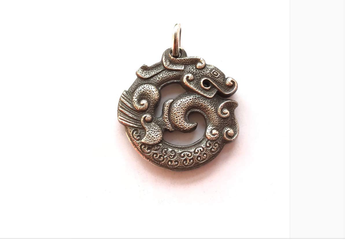Yoki Chinese Style Dragon Pendant Double-Sided Engraving Handmade Retro Old Men and Women Pendant 925 Silver - Antique Old