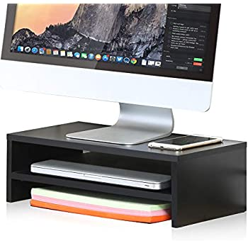 FITUEYES Computer Monitor Stand Clamp Desk TV Shelf Risers 16.7 inch 2 Tiers Monitor Stand Save Space Black