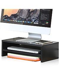 1 Soporte Fitueyes de 16,7 pulgadas para portátil, elevador de monitor de computadora con teclado y espacio de almacenamiento, Madera, Negro