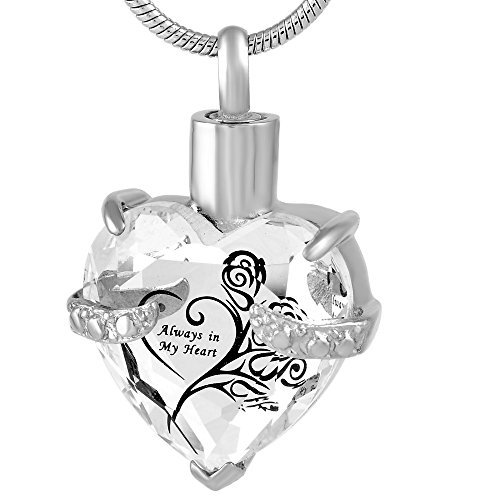 20' Fine Jewelry (Always In My heart Memorial Jewelry Stainless Steel Cremation Urn Pendant Necklace)