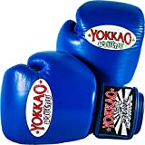 YOKKAO Cowhide Fight Gloves for Muay Thai, Boxing, Kickboxing and Martial Arts (Blue, 16 oz)