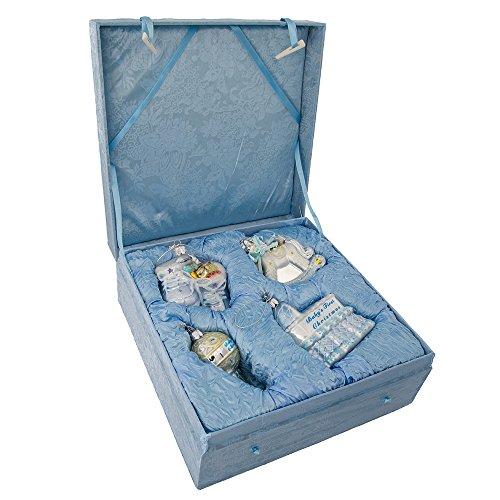 First Glass Christmas - Kurt Adler NB0017B Noble Gems Glass Baby Boy Ornament, 4 Piece Set