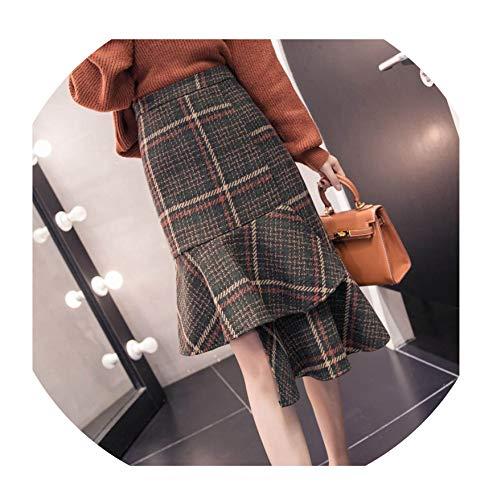 (Ladies Office Wool Skirt Irregular Plaid Midi Fishtail Skirts Women OL Hip Package Ruffles Woolen Elegant,Green,XXL)