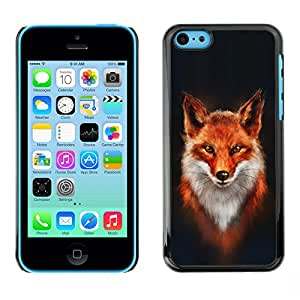 Qstar Arte & diseño plástico duro Fundas Cover Cubre Hard Case Cover para Apple iPhone 5C ( Fox White Orange Red Art Portrait Painting)