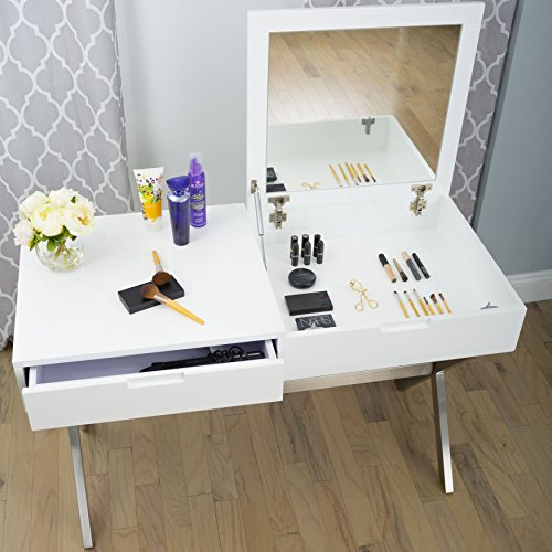 MIX High Gloss Lacquer Wood Stainless Steel Legs White Rectangular Lift-Top Desk Vanity Table with Hidden Storage and Mirror by MIX