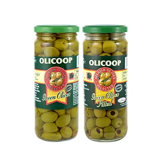Olicoop Green Stuffed Olives 450g + Green Pitted Olives 450g, Pack of 1 Each, Produced in Spain