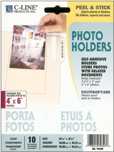 C-Line Peel & Stick Photo Holders for 3 x 5 & 4 x 6 Photos, 4-3/8 x 6-1/2, Clear, 10/pk (Cline Clear Photo Holders)
