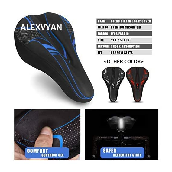 AlexVyan Soft Bicycle Silicone Gel Saddle Seat & Cycling Cushion Pad Bike Cycle Gel Cover (Black with Blue)