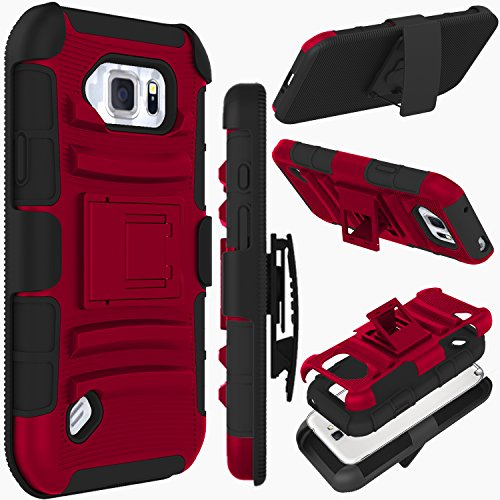 Galaxy S6 Active Case, ZENIC(TM) Hybrid Dual Layer Armor Defender Full-body Protective Case Cover with Kickstand & Belt Clip Holster Combo for Samsung Galaxy S6 Active All Carriers (Burgundy)