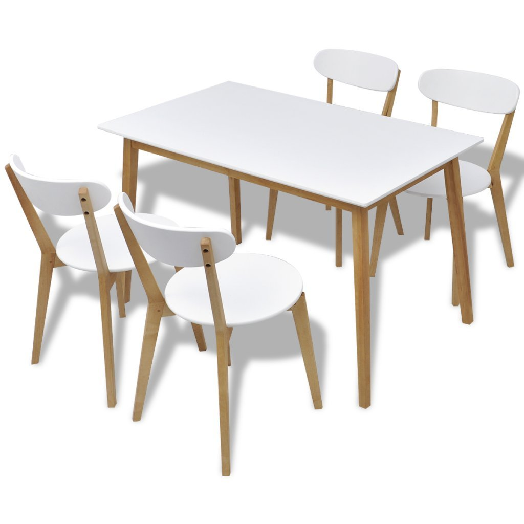 Vidaxl five piece wooden dining set table and chairs mdf and birch wood kitchen home amazon co uk kitchen home