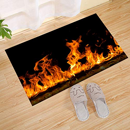 JANNINSE Christmas Home Fireplace Yellow Flame Dynamic Mystery Small Door Mat, Personalized Outdoor Welcome Entrance Door Mat - Decorative Front Door Welcome Carpet Wedding Gift by JANNINSE