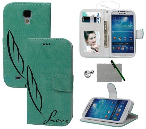 Samsung Galaxy S4 Case, xhorizon TM FLK Green Pen Design Leather Wallet Card Holder Stand Magnetic Closure Flip Case Cover for Samsung Galaxy S4 i9500 With a Stylus and a Dust-proof plug as a gift