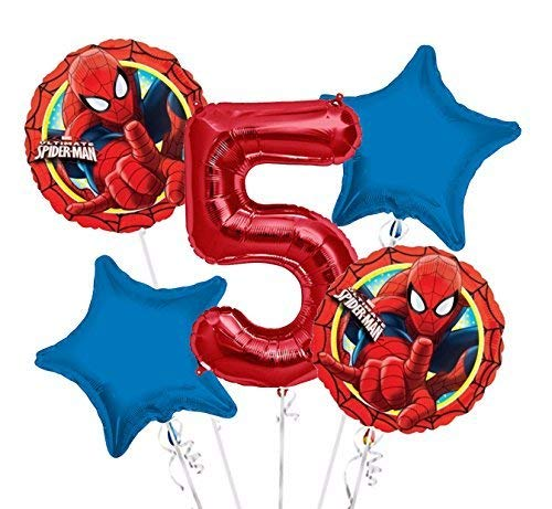 Spiderman Balloon Bouquet 5th Birthday 5 pcs - Party Supplies