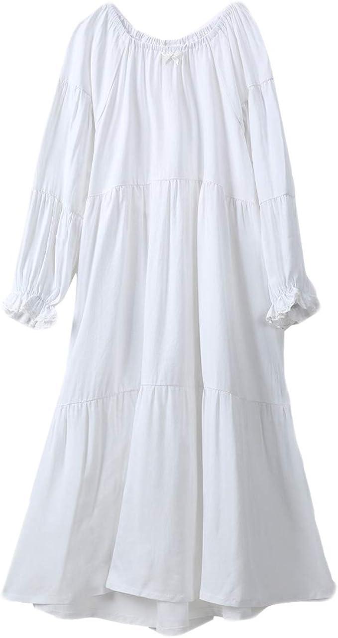 Camisón Niña Manga Larga Pijama de Algodón de Vestido de Noche Camisones para Niñas Blanco, 90-150 Cm: Amazon.es: Ropa y accesorios