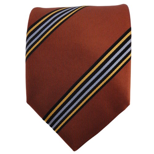 TigerTie Designer satin cravate brun cuivre bleu noir orange-marron rayé - Tie