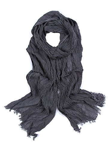 Leonal Men Fashion Striped Cotton Scarf with Tassels (Gray) by Leonal