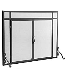2-Door Solid Steel Flat Guard Fire Screen, Size 39''W x 31''H by Plow & Hearth®