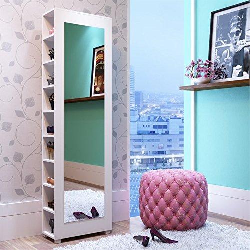 Manhattan Comfort Valencia 9 Shelf Shoe Closet with Mirror in White by Manhattan Comfort